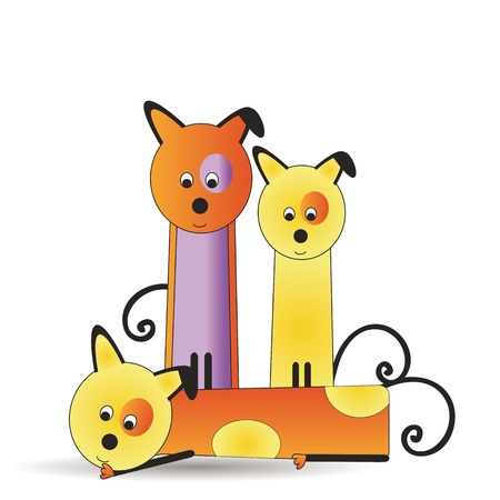Abstract and cute colorful dogs family Vector