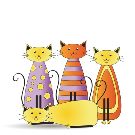 mixed family: Abstract and cute colorful cats family Illustration