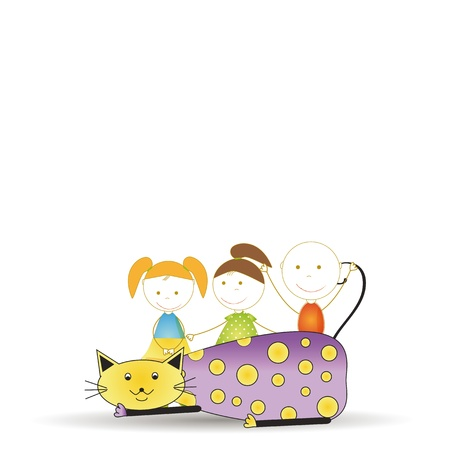 Abstract and cute colorful kids with cat Vector
