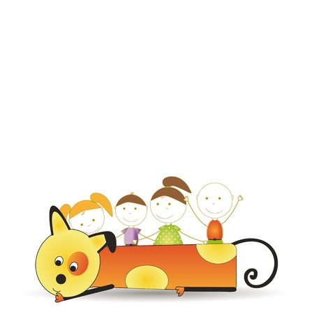 Abstract and cute colorful kids with dog Stock Vector - 16553228