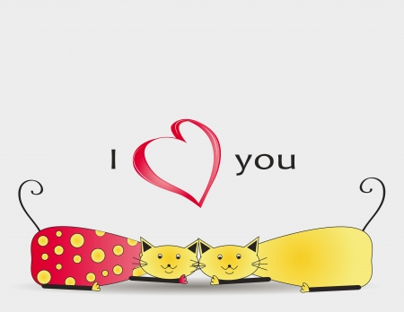 Cute and colorful two cats with heart Stock Vector - 16553221