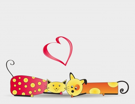 Cute and colorful cat and dog with heart Stock Vector - 16553223