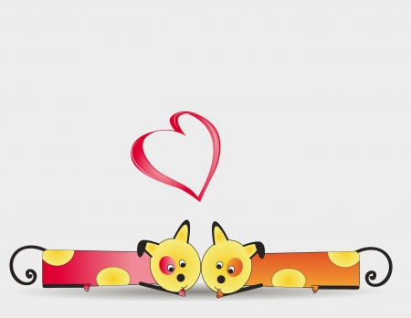 Cute and colorful two dogs with heart Stock Vector - 16553222