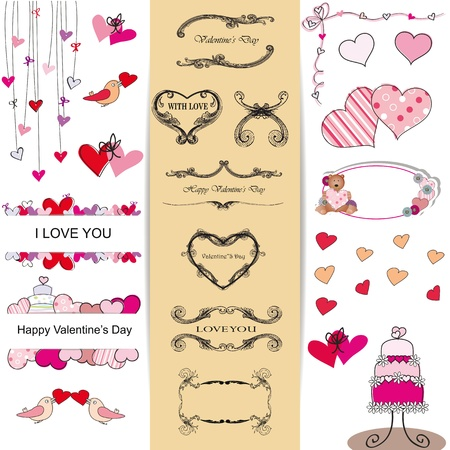 declaration of love: Cute and many elements you can use on Valentines day Illustration