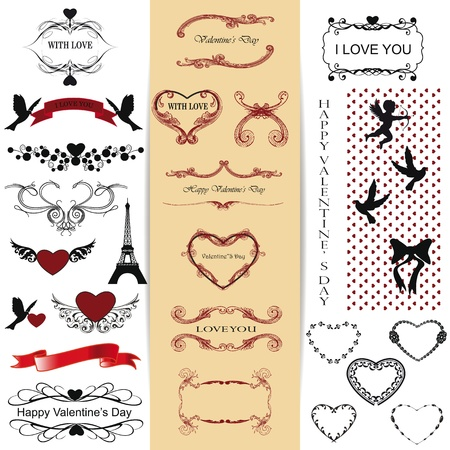 Cute and many elements you can use on Valentines day Vector