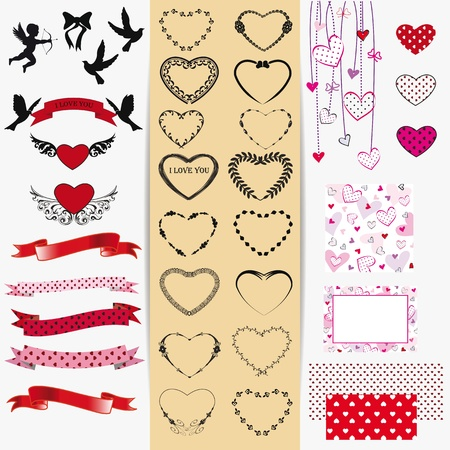 Cute and many elements you can use on Valentine's day Stock Vector - 16576996