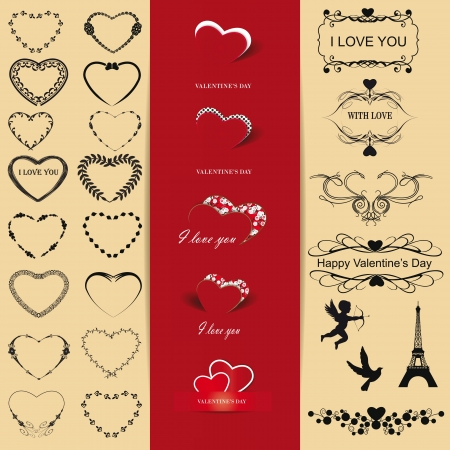 post card: Cute and many elements you can use on Valentines day Illustration