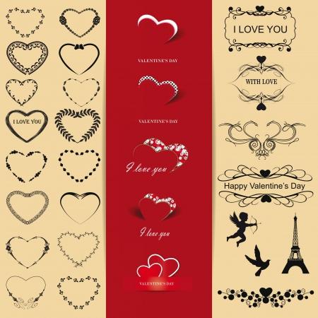 Nette und viele Elemente, die Sie am Valentinstag nutzen k�nnen