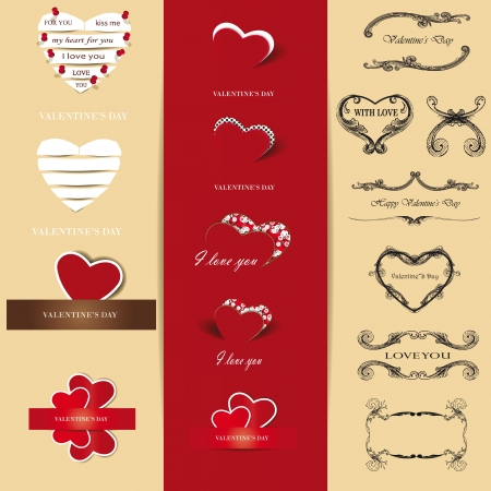 Cute and many elements you can use on Valentine's day Stock Vector - 16576976