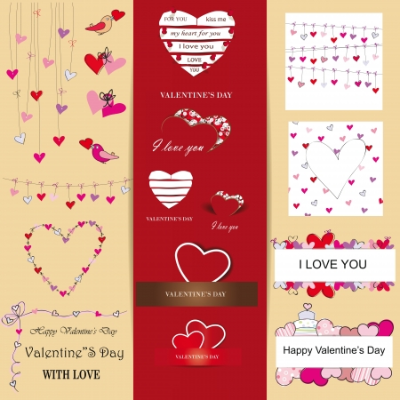 Cute and many elements you can use on Valentine's day Stock Vector - 16576975