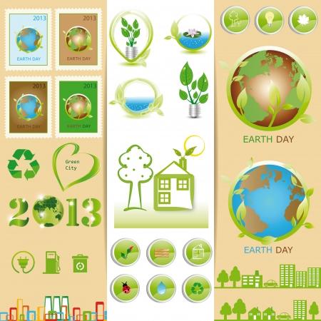 �kologie Elemente k�nnen Sie am Tag der Erde verwenden Illustration