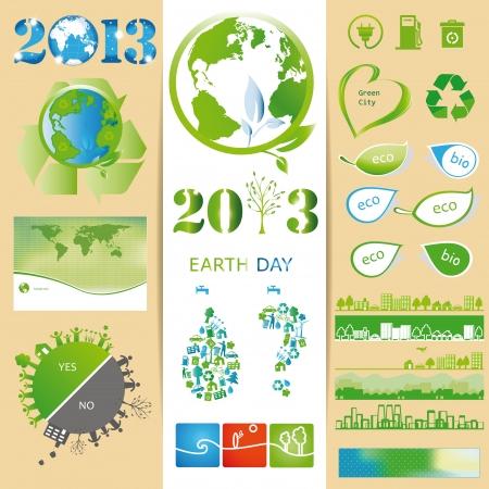 Ecología elementos que puede utilizar en el Día de la Tierra Ilustración de vector