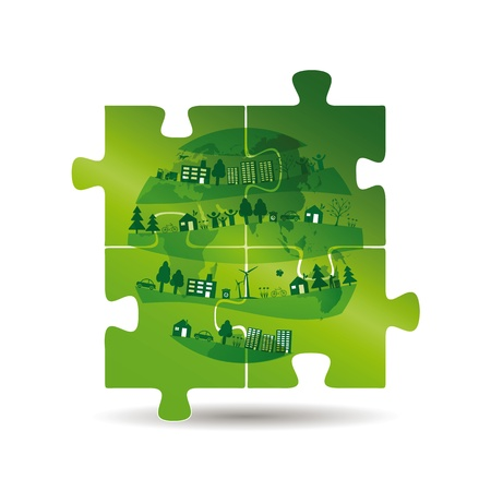 car leaf: Cute and green ecology background with puzzles Illustration