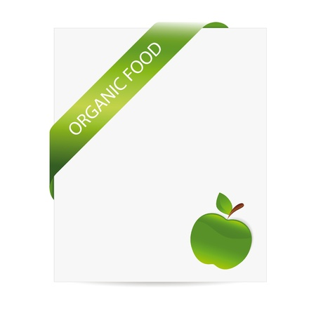 Green apple as organic food symbol on slip of paper Stock Vector - 16840070