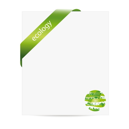 Cute and green ecology background with paper Vector