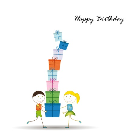 Cute card on birthday with colorful presents Stock Vector - 16840145