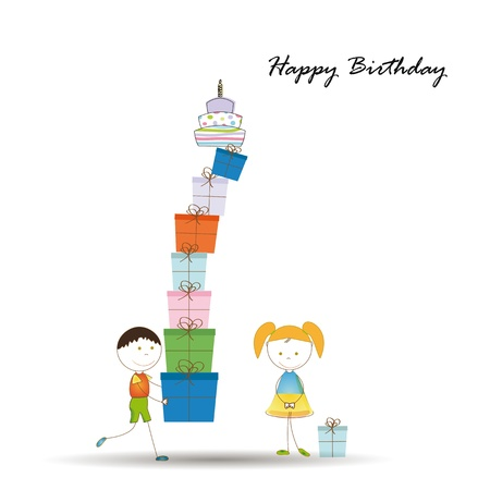 happy birthday girl: Cute card on birthday with colorful presents