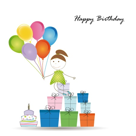 Cute card on birthday with colorful presents and balloons Stock Vector - 16840220