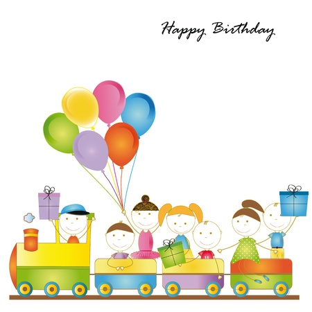 Cute card on birthday with colorful kids train