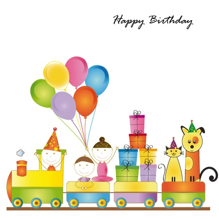 Cute card on birthday with colorful kids train Stock Vector - 16840228