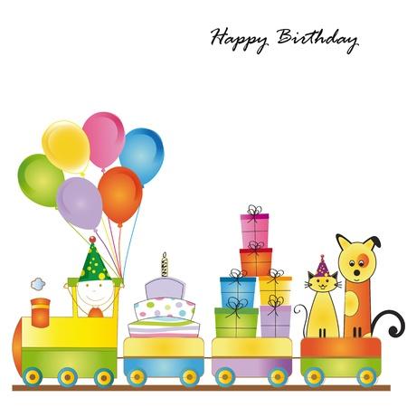 カラフルな子供の誕生日にかわいいカード列車します。  イラスト・ベクター素材