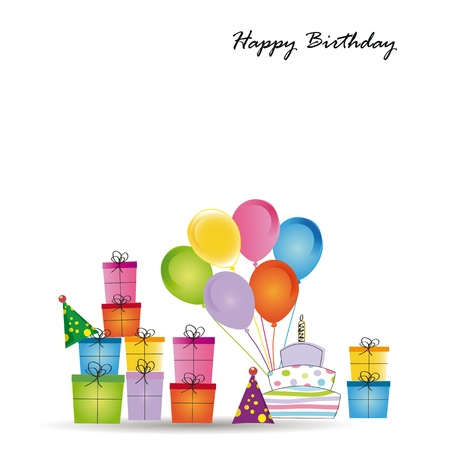 Cute card on birthday with colorful presents and balloons Stock Vector - 16840183