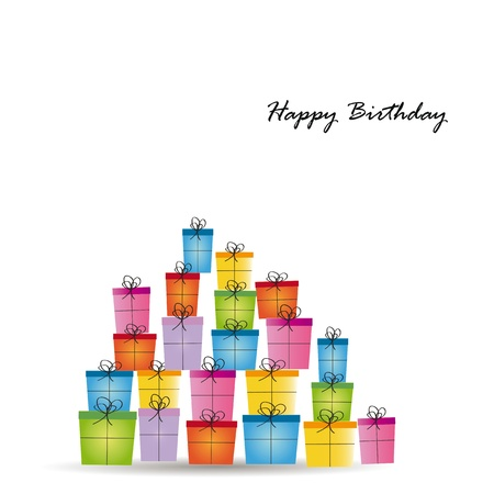 Cute card on birthday with colorful presents Stock Vector - 16840080