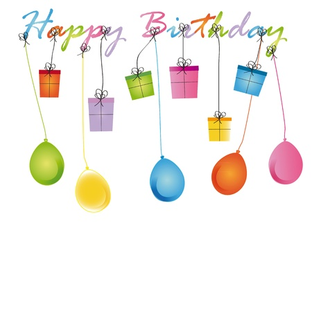 special occasion: Cute card on birthday with colorful presents and balloons