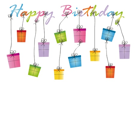 Cute card on birthday with colorful presents Stock Vector - 16840083