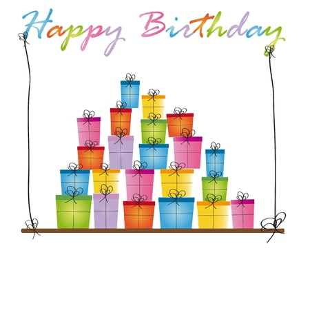 Cute card on birthday with colorful presents Stock Vector - 16840135