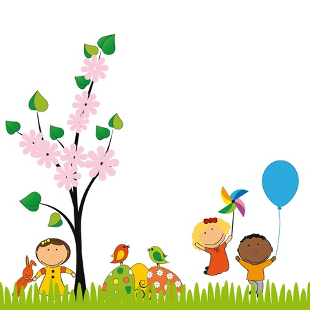 Cute easter card with kids and eggs Vector