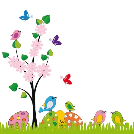 cartoon easter: Cute easter card with birds and eggs