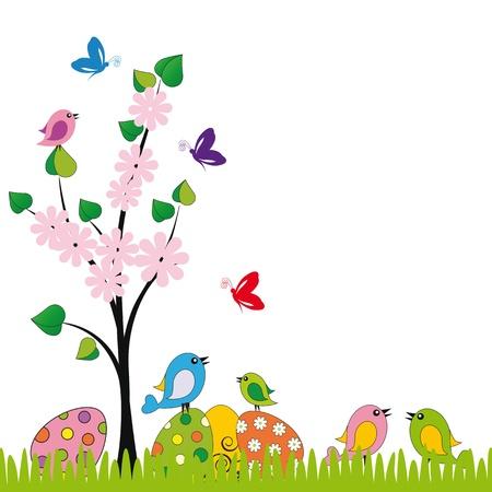 huevo caricatura: Linda tarjeta de Pascua con aves y huevos