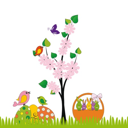 Cute easter card with birds and eggs Stock Vector - 17223050