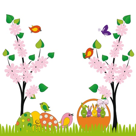 Cute easter card with birds and eggs Stock Vector - 17223051