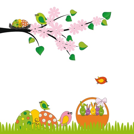 Cute easter card with birds and eggs Stock Vector - 17223052