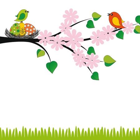 arbol de pascua: Linda tarjeta de Pascua con aves y huevos