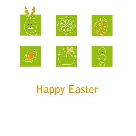 Cute easter card with birds, eggs, rabbit and chicken Stock Vector - 17223037