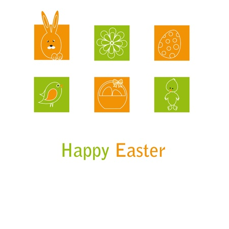 Cute easter card with birds, eggs, rabbit and chicken Vector