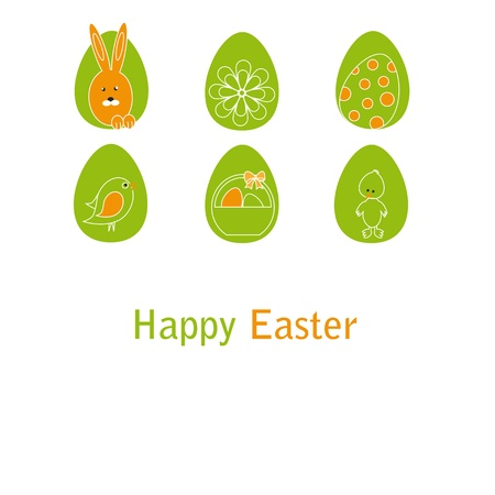 Cute easter card with birds, eggs, rabbit and chicken Stock Vector - 17223039