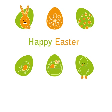 Cute easter card with birds, eggs, rabbit and chicken Stock Vector - 17223040