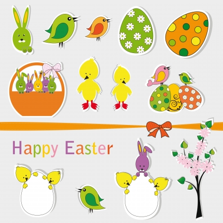Cute and many easter sets on paper Illustration