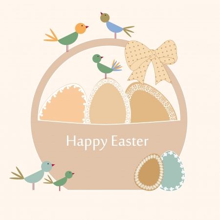 Abstract easter card with eggs and birds Vector