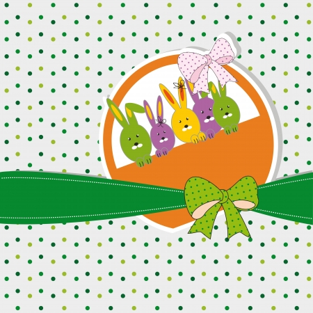 Colorful easter card with doodles and bunny Vector