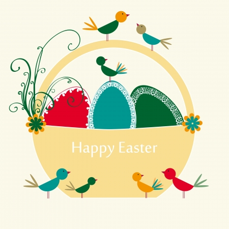 Abstract easter card with eggs and birds Stock Vector - 17223064