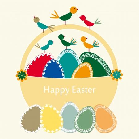 Abstract easter card with eggs and birds Stock Vector - 17223072