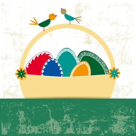 Abstract easter card with eggs and birds Stock Vector - 17223085