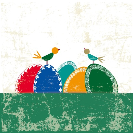Abstract easter card with eggs and birds Stock Vector - 17223084
