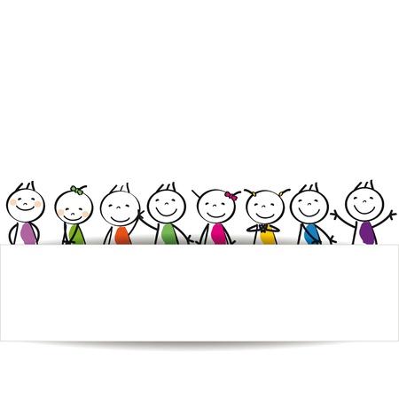バナーと小さな、幸せなかわいい子供たち