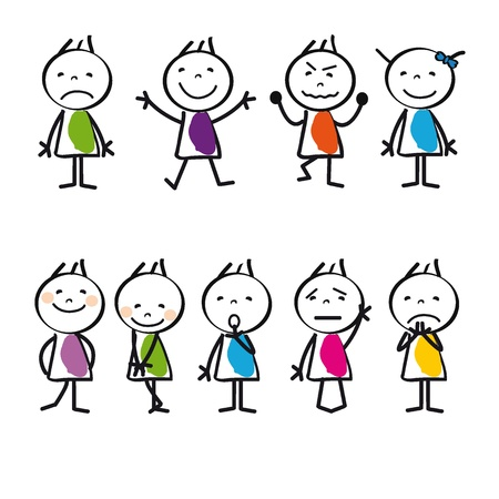 Cute and colorful cartoon kids sad and happy
